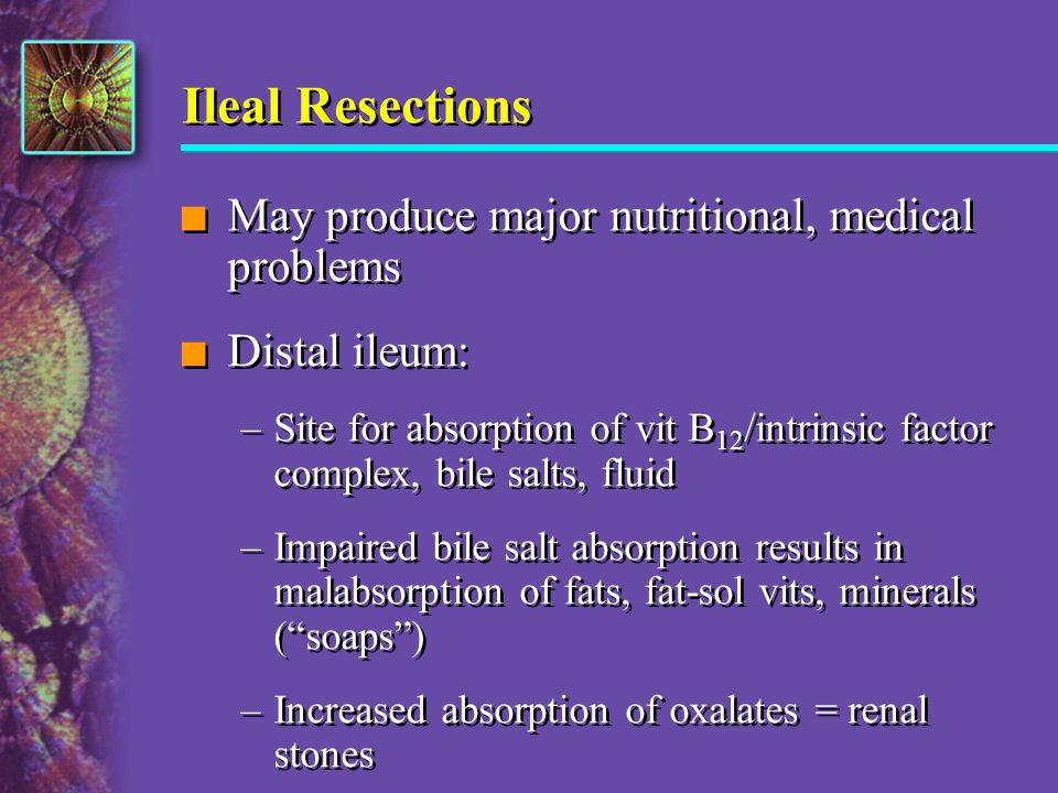 Ileal Resections n May produce major nutritional, medical problems n Distal ileum: –Site for absorption of vit B 12 /intrinsic factor complex, bile sa