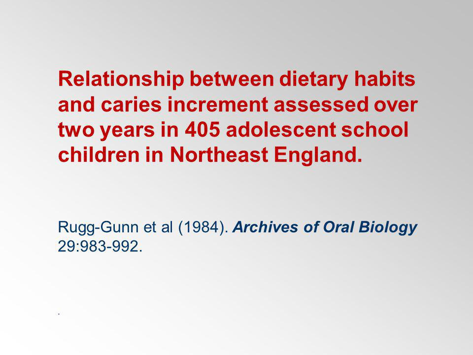 Relationship between dietary habits and caries increment assessed over two years in 405 adolescent school children in Northeast England. Rugg-Gunn et