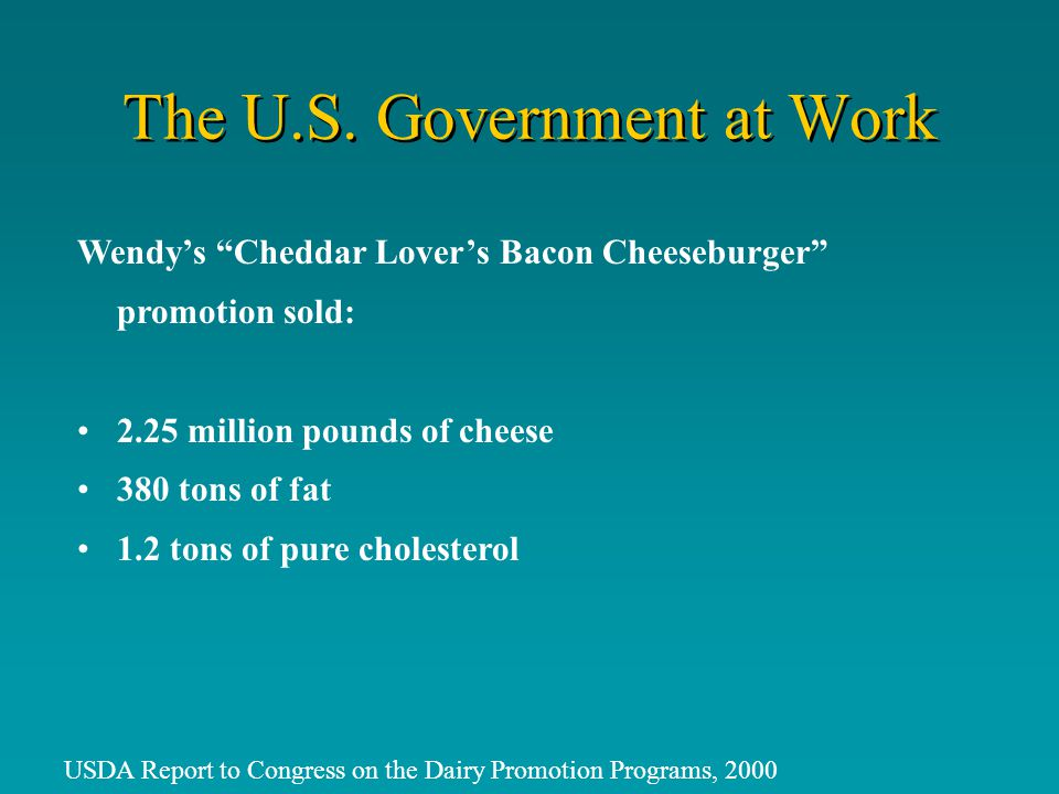 Wendys Cheddar Lovers Bacon Cheeseburger promotion sold: 2.25 million pounds of cheese 380 tons of fat 1.2 tons of pure cholesterol USDA Report to Congress on the Dairy Promotion Programs, 2000 The U.S.