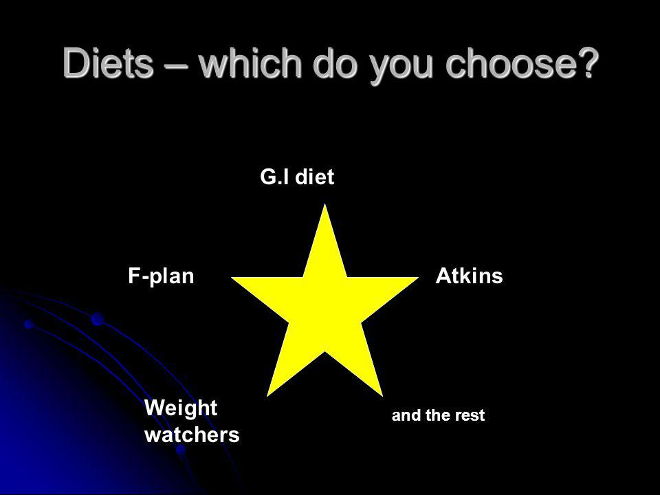 Diets – which do you choose Atkins G.I diet Weight watchers F-plan and the rest