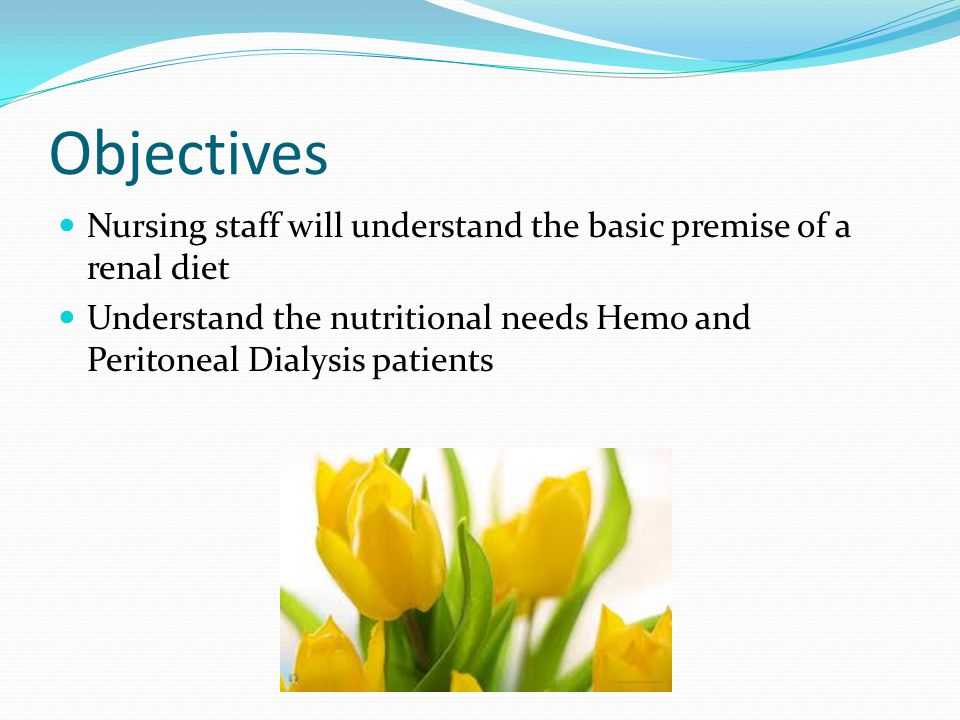 Objectives Nursing staff will understand the basic premise of a renal diet Understand the nutritional needs Hemo and Peritoneal Dialysis patients