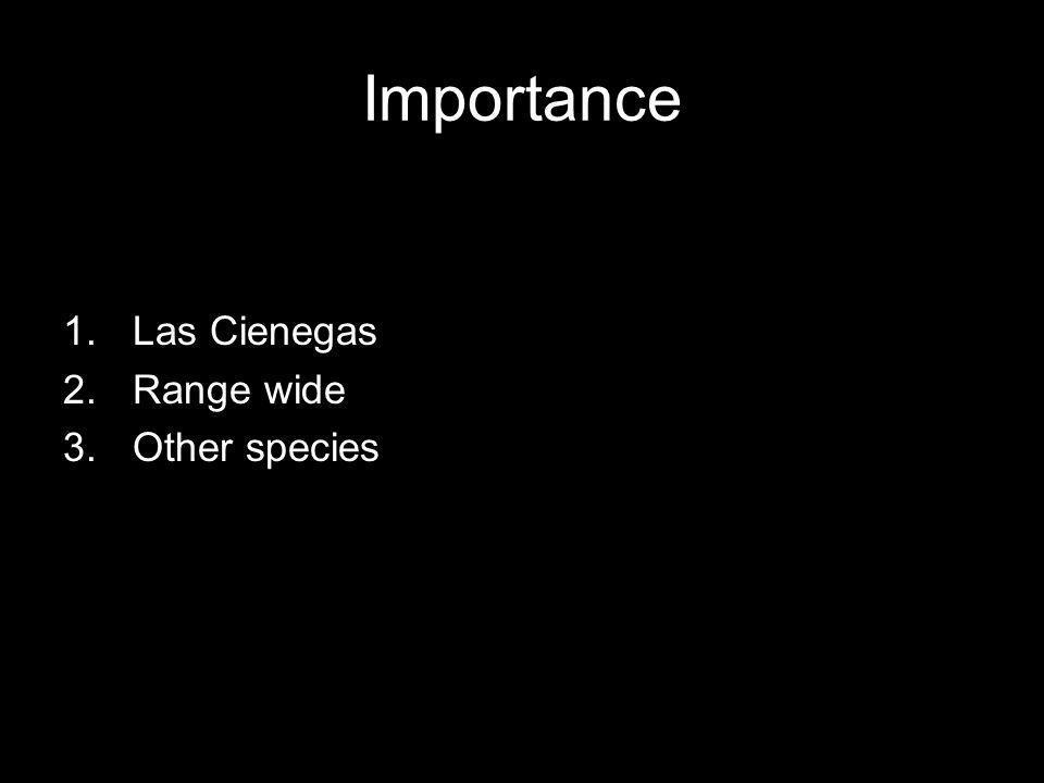 Importance 1.Las Cienegas 2.Range wide 3.Other species