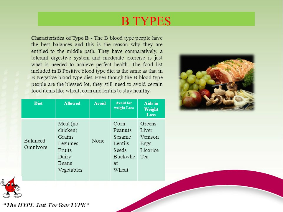 B TYPES DietAllowedAvoid Avoid for weight Loss Aids in Weight Loss Balanced Omnivore Meat (no chicken) Grains Legumes Fruits Dairy Beans Vegetables None Corn Peanuts Sesame Lentils Seeds Buckwhe at Wheat Greens Liver Venison Eggs Licorice Tea Characteristics of Type B - Characteristics of Type B - The B blood type people have the best balances and this is the reason why they are entitled to the middle path.