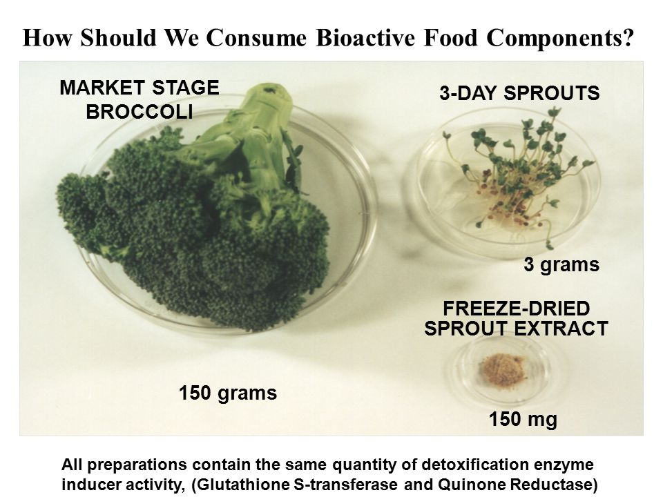 150 mg 3 grams 150 grams MARKET STAGE BROCCOLI 3-DAY SPROUTS FREEZE-DRIED SPROUT EXTRACT All preparations contain the same quantity of detoxification