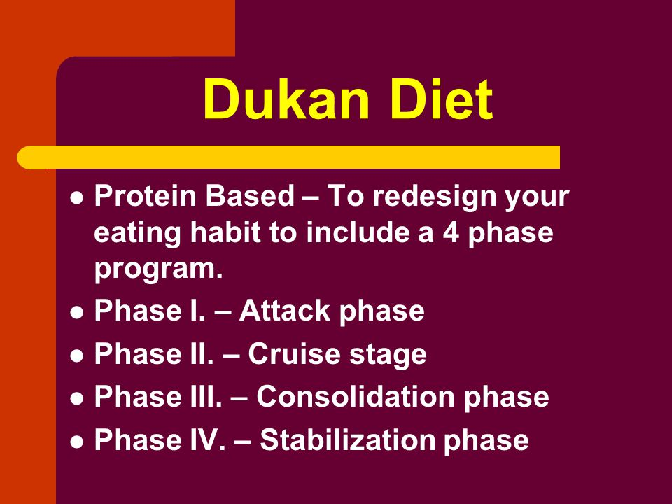 Dukan Diet Protein Based – To redesign your eating habit to include a 4 phase program.