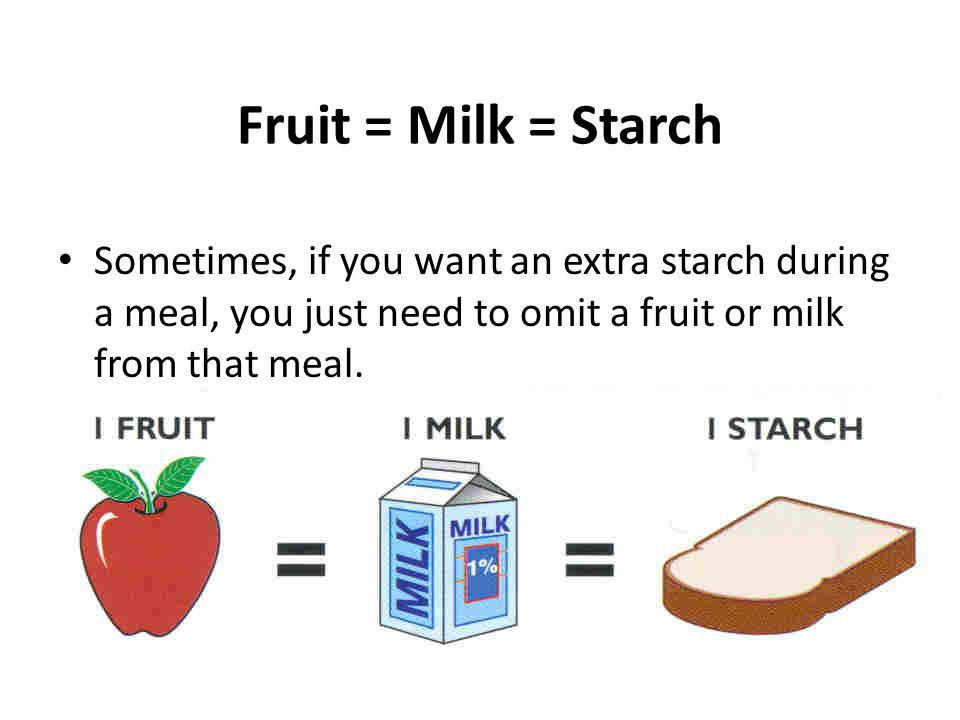 Fruit = Milk = Starch Sometimes, if you want an extra starch during a meal, you just need to omit a fruit or milk from that meal.