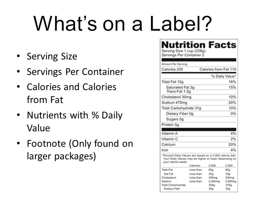 Serving Size Servings Per Container Calories and Calories from Fat Nutrients with % Daily Value Footnote (Only found on larger packages)