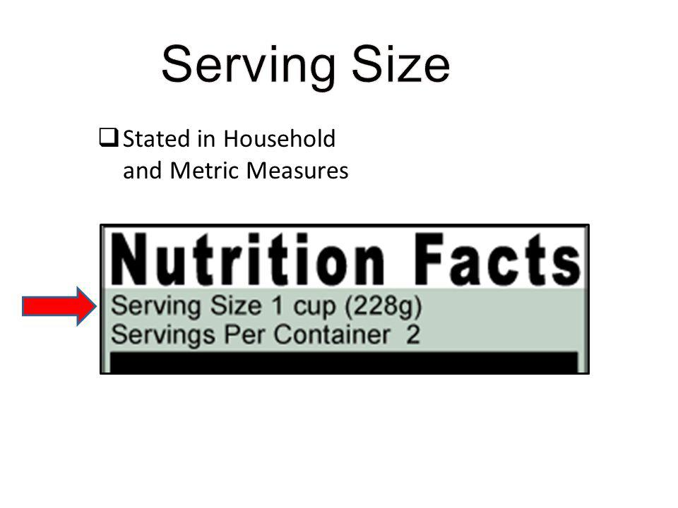 Stated in Household and Metric Measures