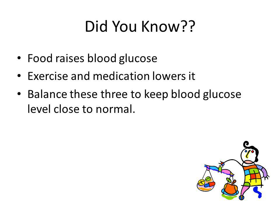 Did You Know?? Food raises blood glucose Exercise and medication lowers it Balance these three to keep blood glucose level close to normal.