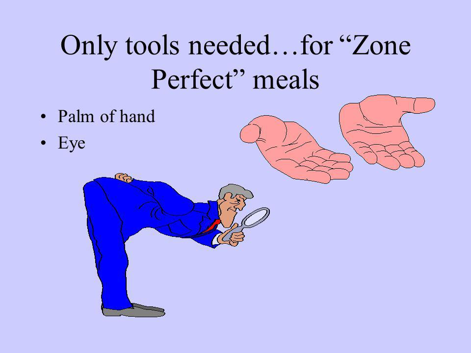 Only tools needed…for Zone Perfect meals Palm of hand Eye