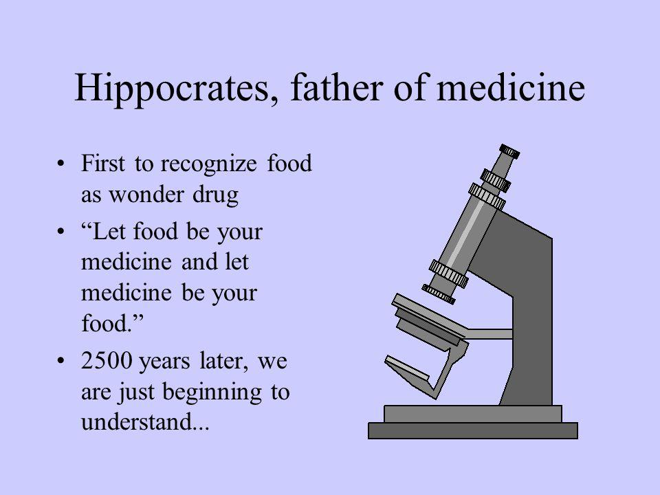 Hippocrates, father of medicine First to recognize food as wonder drug Let food be your medicine and let medicine be your food.