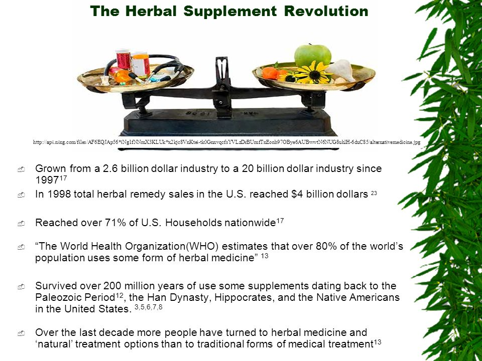 The Herbal Supplement Revolution Grown from a 2.6 billion dollar industry to a 20 billion dollar industry since 1997 17 In 1998 total herbal remedy sa
