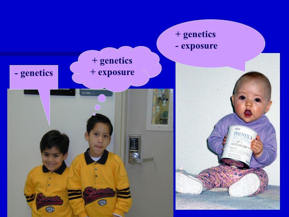 + genetics - exposure + genetics + exposure - genetics