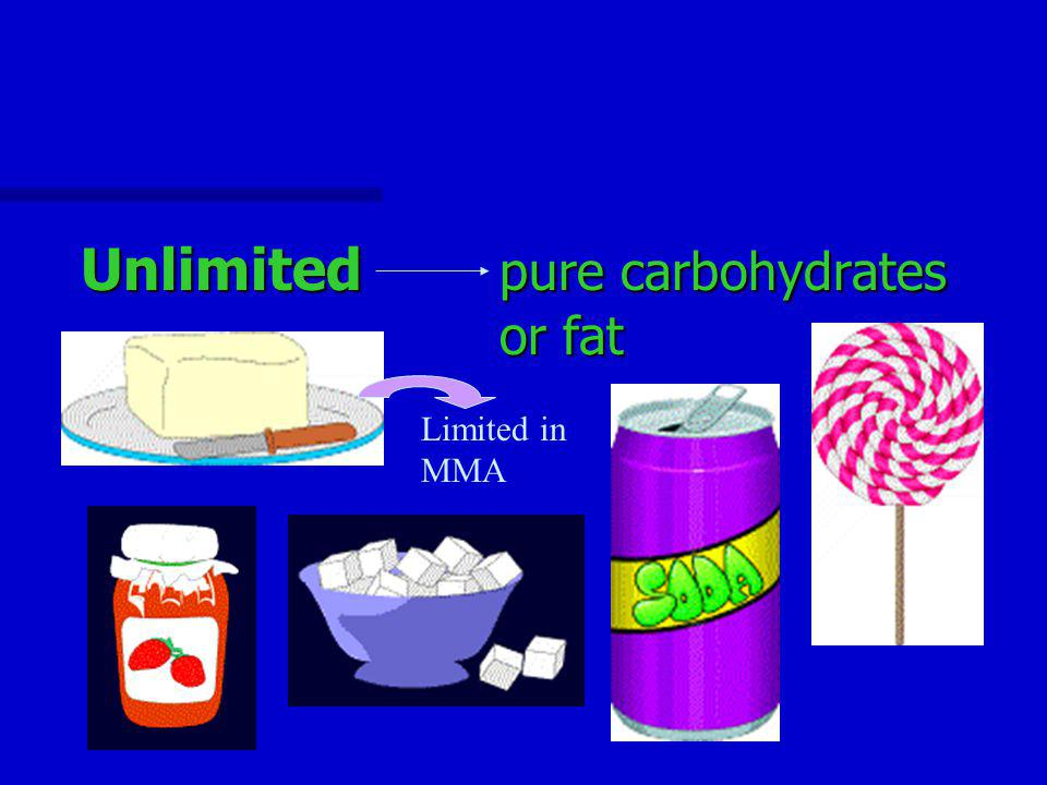 Unlimited pure carbohydrates or fat Limited in MMA