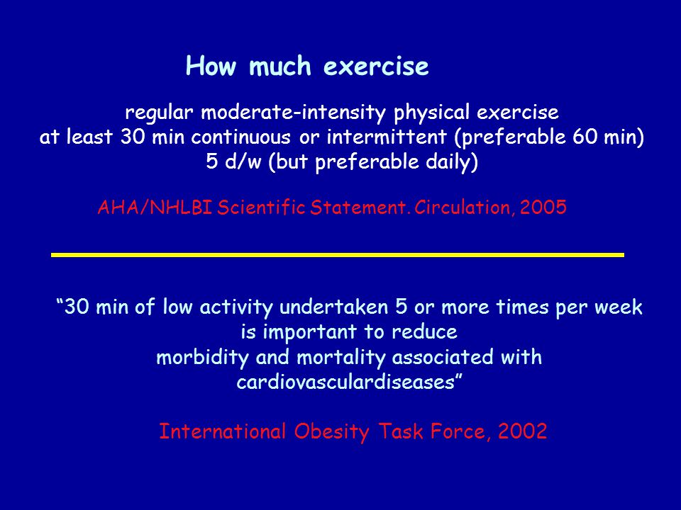 How much exercise regular moderate-intensity physical exercise at least 30 min continuous or intermittent (preferable 60 min) 5 d/w (but preferable daily) AHA/NHLBI Scientific Statement.