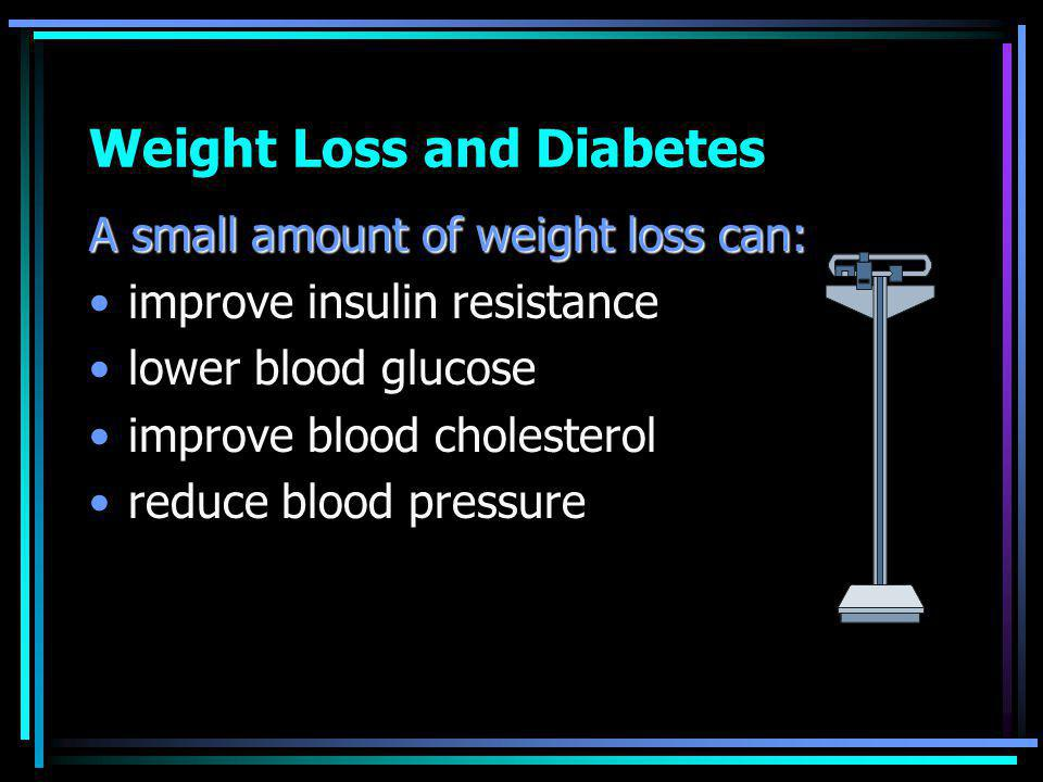 Weight Loss and Diabetes A small amount of weight loss can: improve insulin resistance lower blood glucose improve blood cholesterol reduce blood pressure