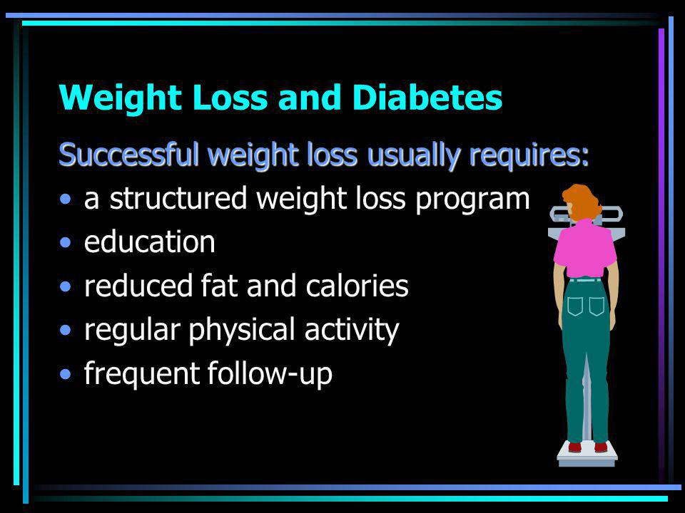 Weight Loss and Diabetes Successful weight loss usually requires: a structured weight loss program education reduced fat and calories regular physical activity frequent follow-up