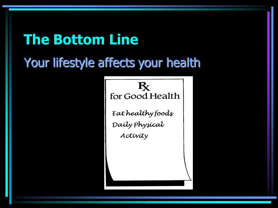 The Bottom Line Your lifestyle affects your health Eat healthy foods Daily Physical Activity