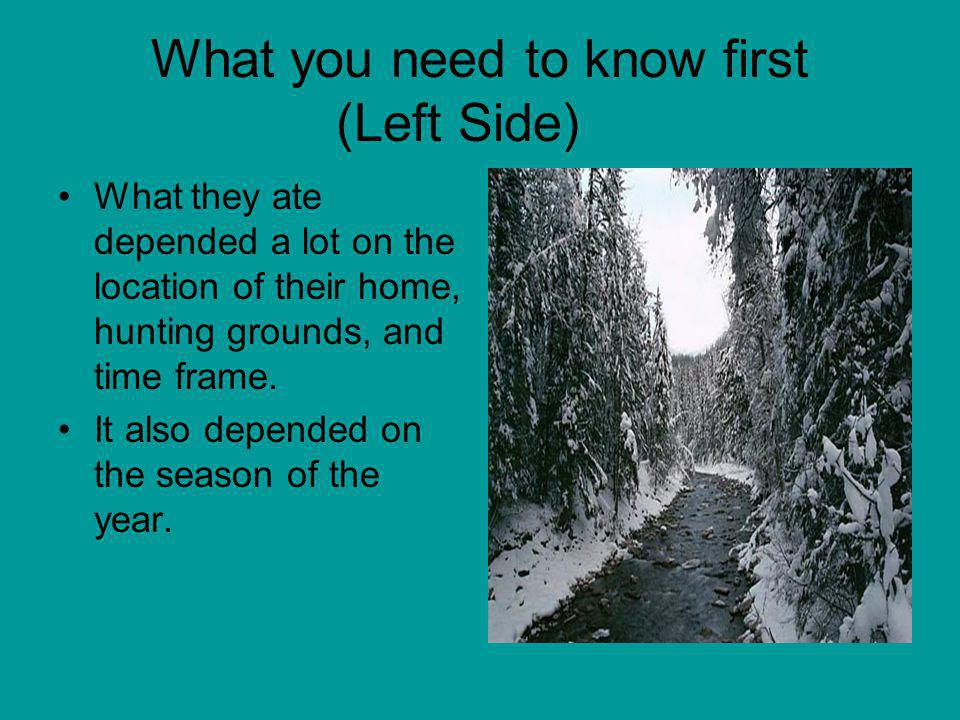What you need to know first (Left Side) What they ate depended a lot on the location of their home, hunting grounds, and time frame. It also depended