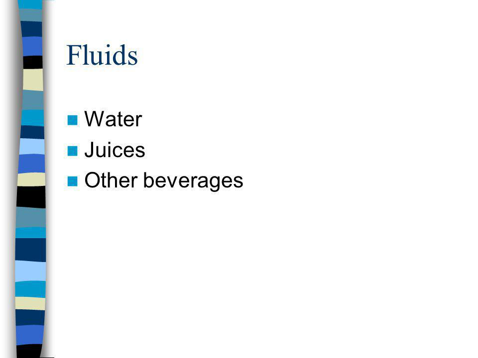 Fluids Water Juices Other beverages
