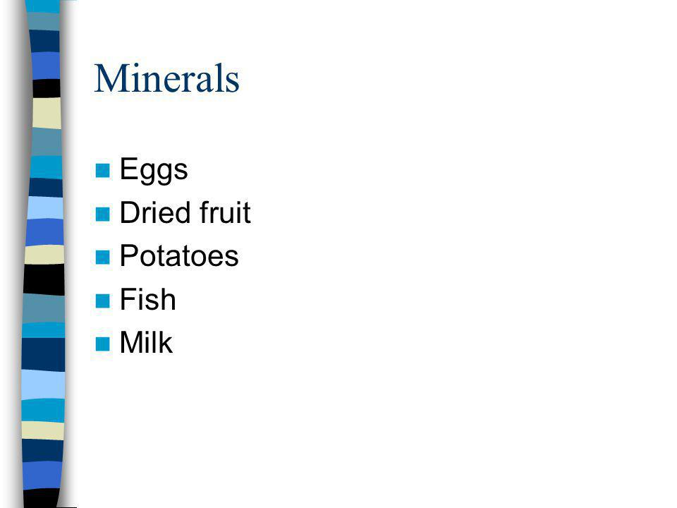 Minerals Eggs Dried fruit Potatoes Fish Milk