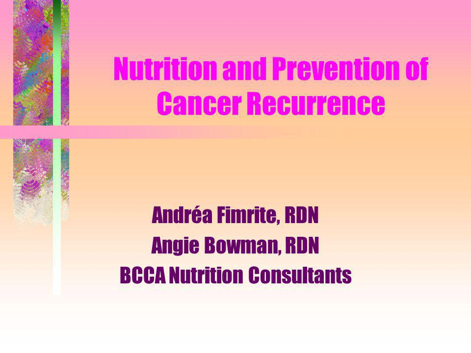 Objectives Recognize the special nutritional needs of cancer survivors during active cancer treatment Advise cancer survivors about nutrition and physical activity during the recovery phase and beyond Controversial nutritional issues facing cancer survivors