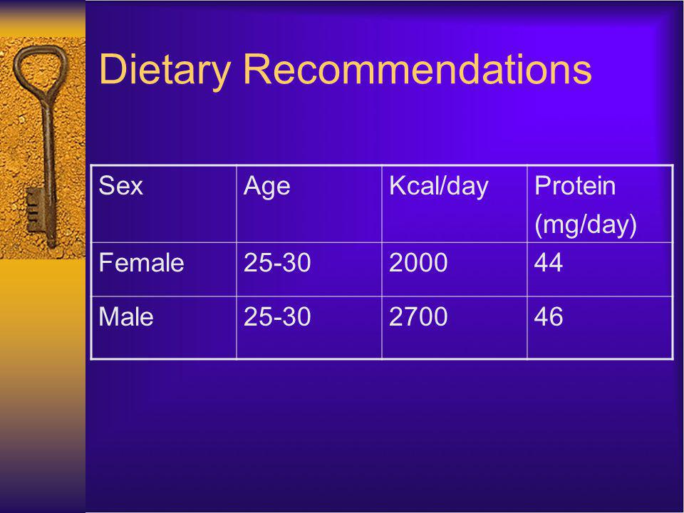 Dietary Recommendations SexAgeKcal/dayProtein (mg/day) Female Male