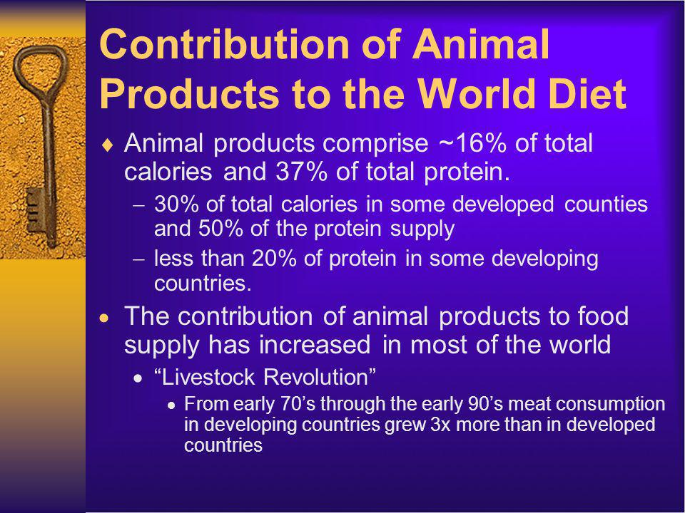 Contribution of Animal Products to the World Diet In general, as standard of living increases, the country tends to have a higher consumption of animal products.