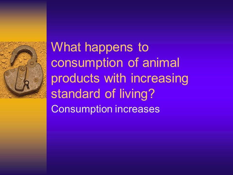 What happens to consumption of animal products with increasing standard of living.