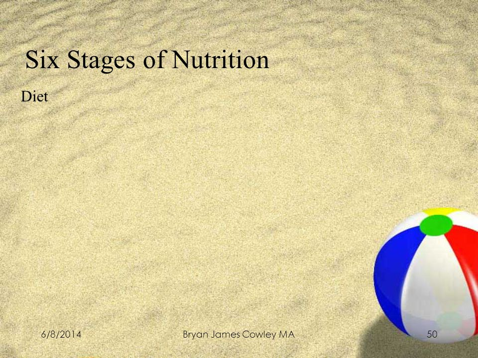 6/8/2014Bryan James Cowley MA50 Six Stages of Nutrition Diet