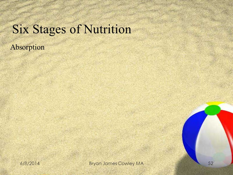 6/8/2014Bryan James Cowley MA52 Six Stages of Nutrition Absorption