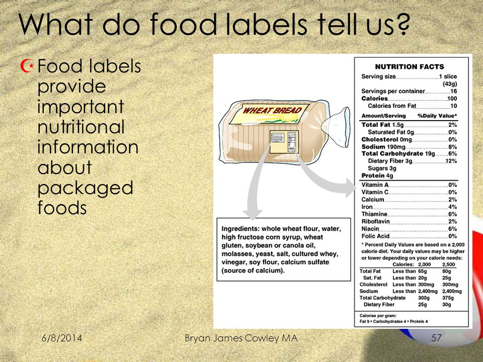 6/8/2014Bryan James Cowley MA57 ZFood labels provide important nutritional information about packaged foods What do food labels tell us
