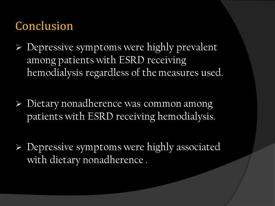 Conclusion Depressive symptoms were highly prevalent among patients with ESRD receiving hemodialysis regardless of the measures used.
