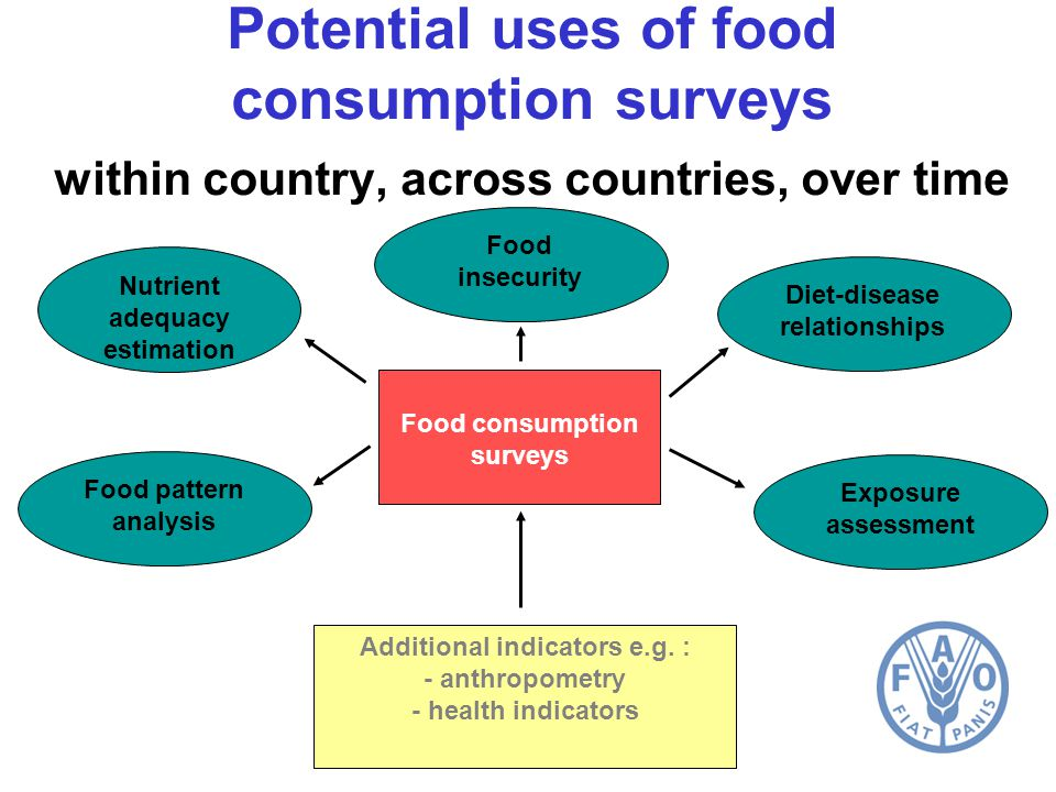 Potential uses of food consumption surveys within country, across countries, over time Nutrient adequacy estimation Food pattern analysis Food consumption surveys Exposure assessment Diet-disease relationships Additional indicators e.g.