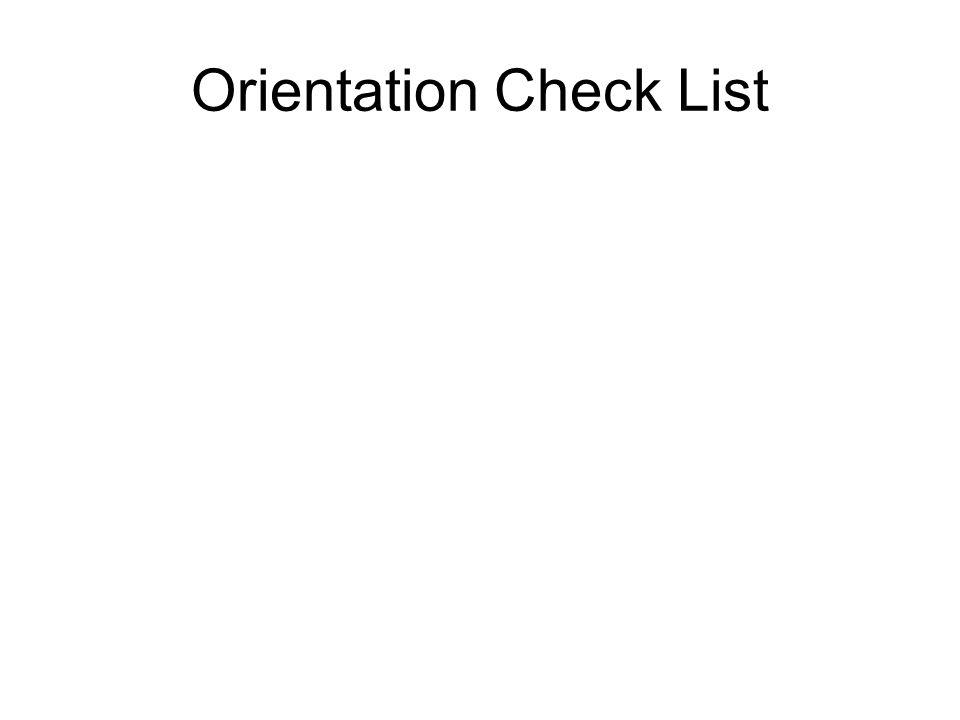 Orientation Check List
