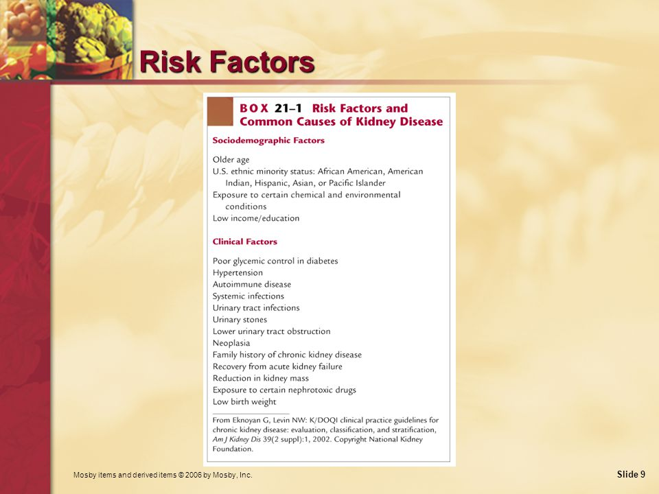 Mosby items and derived items © 2006 by Mosby, Inc. Slide 9 Risk Factors