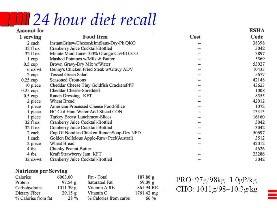 24 hour diet recall PRO: 97g/98kg=1.0gP/kg CHO: 1011g/98=10.3g/kg