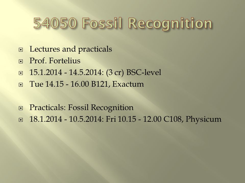 Lectures and practicals Prof.