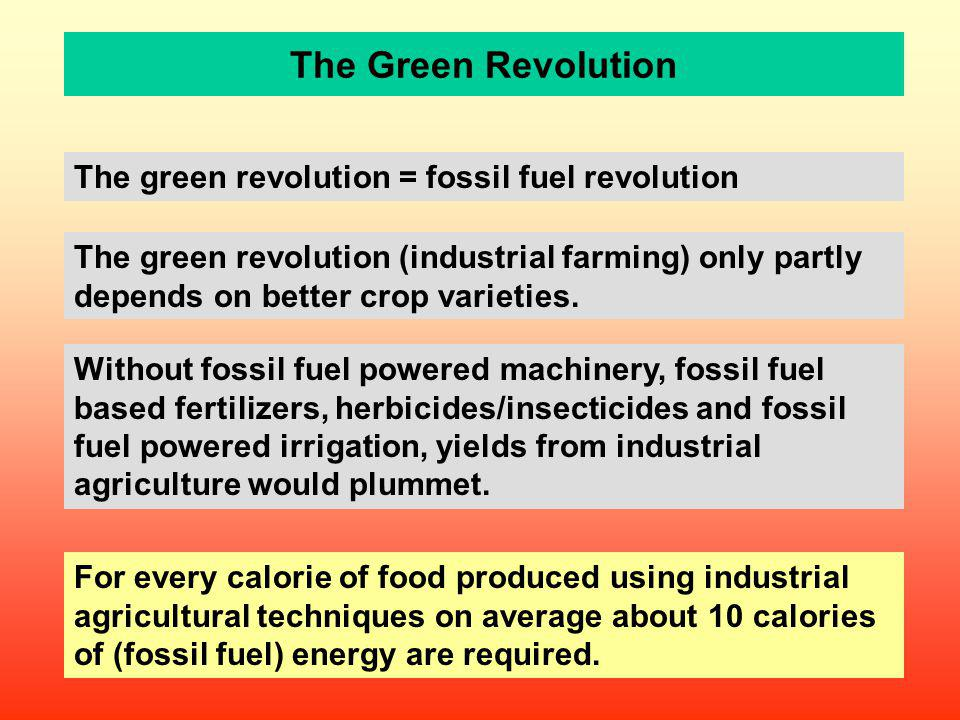 The Green Revolution The green revolution = fossil fuel revolution The green revolution (industrial farming) only partly depends on better crop variet