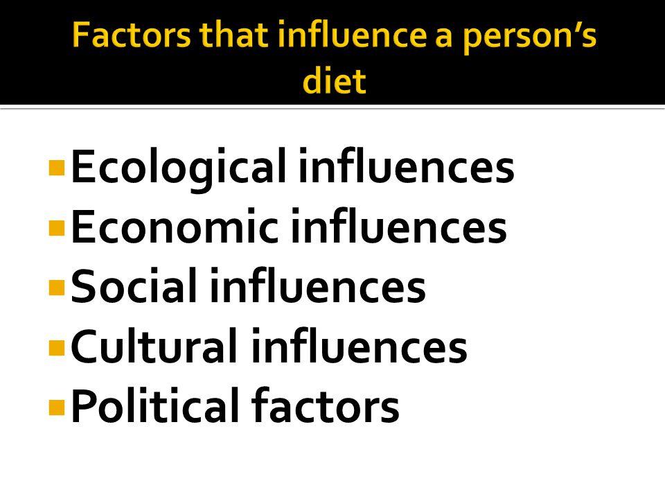 Ecological influences Economic influences Social influences Cultural influences Political factors