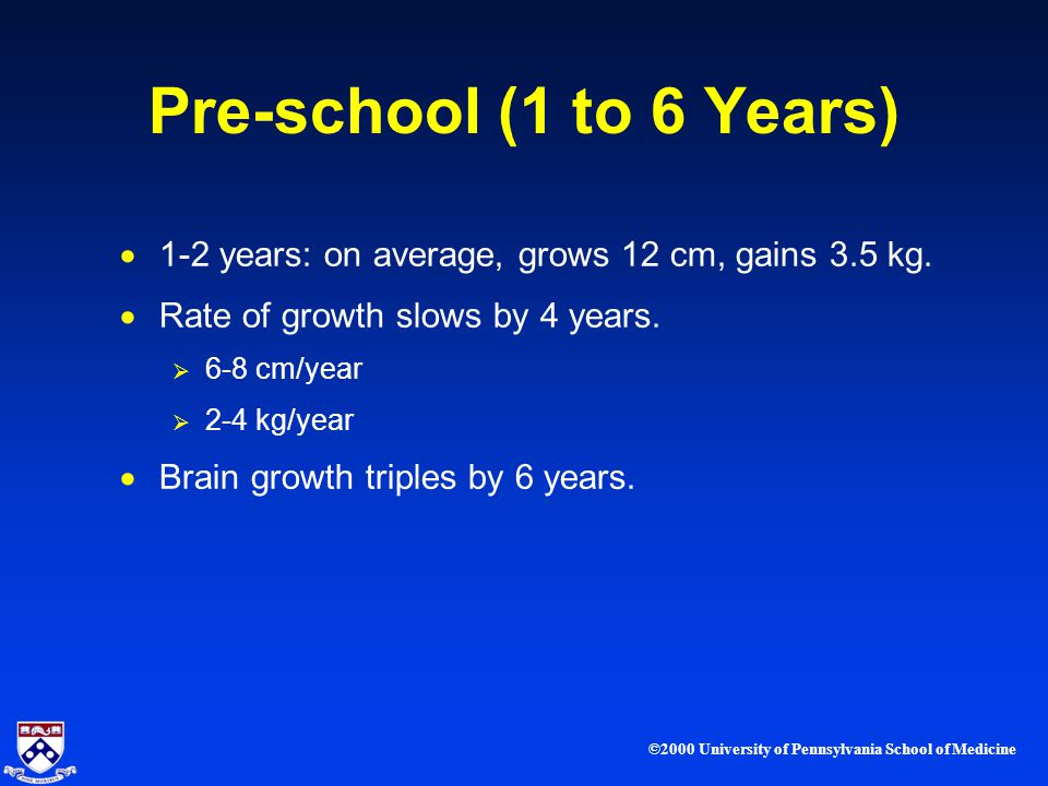 ©2000 University of Pennsylvania School of Medicine Pre-school (1 to 6 Years) 1-2 years: on average, grows 12 cm, gains 3.5 kg.