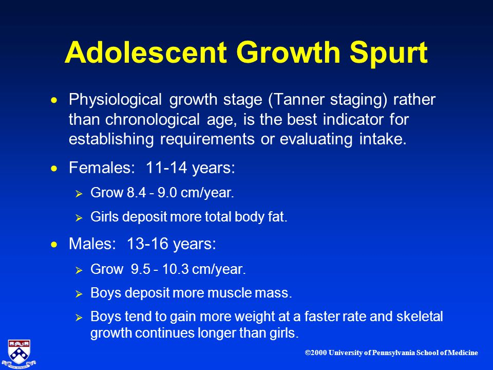 ©2000 University of Pennsylvania School of Medicine Adolescent Growth Spurt Physiological growth stage (Tanner staging) rather than chronological age, is the best indicator for establishing requirements or evaluating intake.