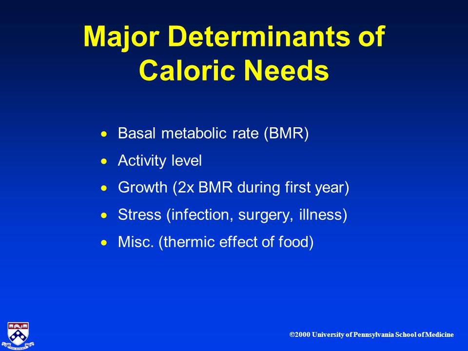 ©2000 University of Pennsylvania School of Medicine Major Determinants of Caloric Needs Basal metabolic rate (BMR) Activity level Growth (2x BMR during first year) Stress (infection, surgery, illness) Misc.