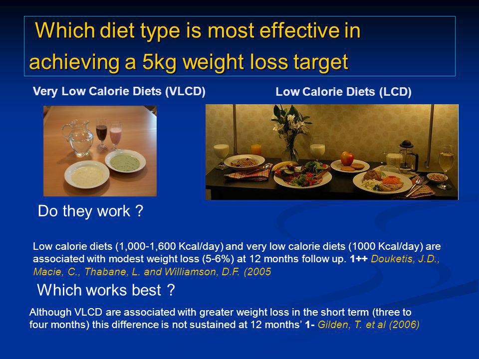 Which diet type is most effective in achieving a 5kg weight loss target Which diet type is most effective in achieving a 5kg weight loss target Do they work .