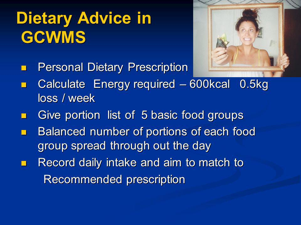 Dietary Advice in GCWMS Personal Dietary Prescription Personal Dietary Prescription Calculate Energy required – 600kcal 0.5kg loss / week Calculate Energy required – 600kcal 0.5kg loss / week Give portion list of 5 basic food groups Give portion list of 5 basic food groups Balanced number of portions of each food group spread through out the day Balanced number of portions of each food group spread through out the day Record daily intake and aim to match to Record daily intake and aim to match to Recommended prescription Recommended prescription