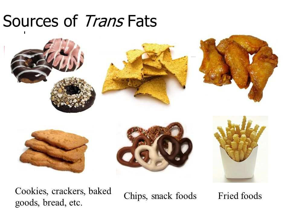 Sources of Trans Fats Chips, snack foodsFried foods Cookies, crackers, baked goods, bread, etc.