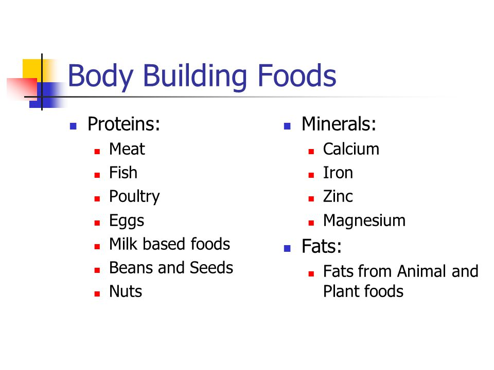 Body Building Foods Proteins: Meat Fish Poultry Eggs Milk based foods Beans and Seeds Nuts Minerals: Calcium Iron Zinc Magnesium Fats: Fats from Anima