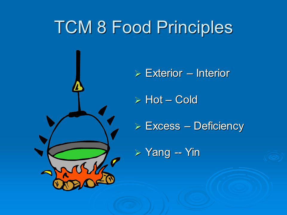 TCM 8 Food Principles Exterior – Interior Exterior – Interior Hot – Cold Hot – Cold Excess – Deficiency Excess – Deficiency Yang -- Yin Yang -- Yin