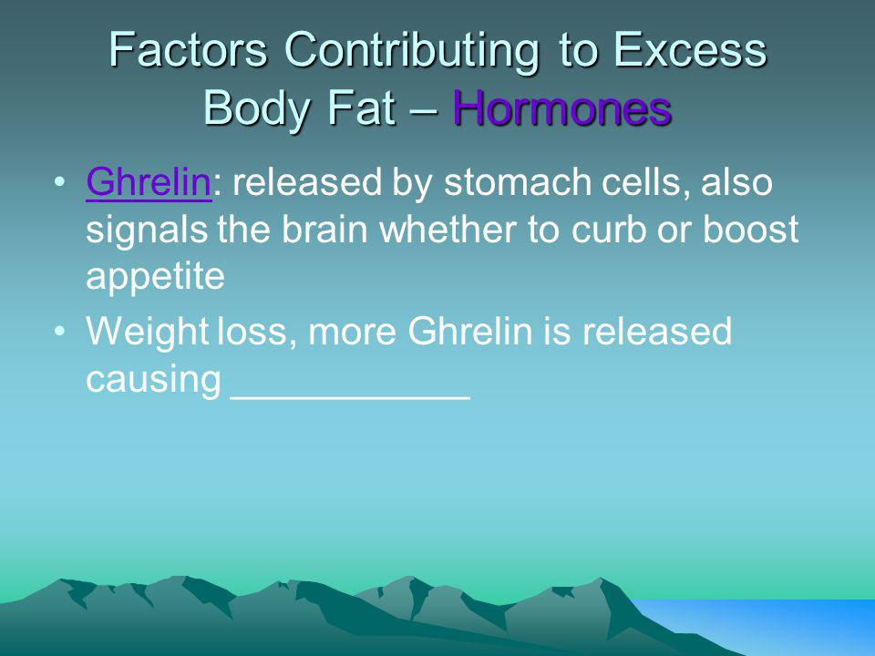 Factors Contributing to Excess Body Fat – What we eat Very-Low-Fat Diet & Weight Loss - ¢ Leptin, but studies show that participants didnt experience the hunger (brains sensitivity to Leptin increased) - No § in Grehlin whereas all other types of diets caused a rise in Grehlin Experts: Weight maintenance is much easier than weight loss.