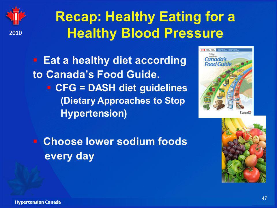 47 Hypertension Canada 2010 Recap: Healthy Eating for a Healthy Blood Pressure Eat a healthy diet according to Canadas Food Guide. CFG = DASH diet gui
